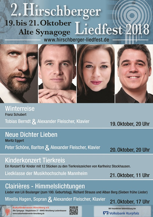2. Hirschberger Liedfest ____________________________ mit vier Konzerten an drei Tagen @ Alte Synagoge Hirschberg | Hirschberg an der Bergstraße | Baden-Württemberg | Deutschland