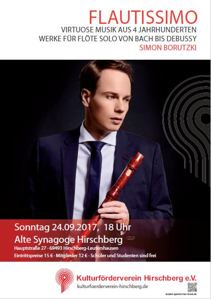 Flautissimo - Virtuose Musik aus vier Jahrhunderten  ____________________________ Simon Borutzki, Blockflöten @ Alte Synagoge Hirschberg | Hirschberg | Rheinland-Pfalz | Deutschland