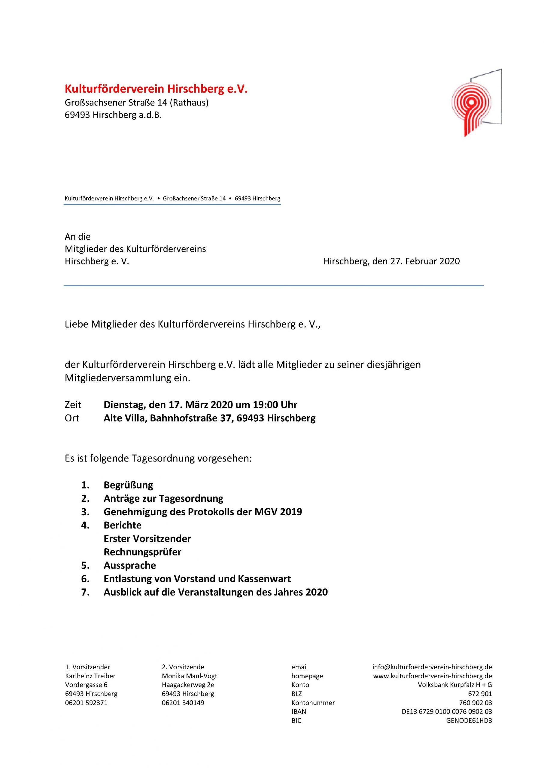 Mitgliederversammlung @ Alte Villa | Hirschberg an der Bergstraße | Baden-Württemberg | Deutschland